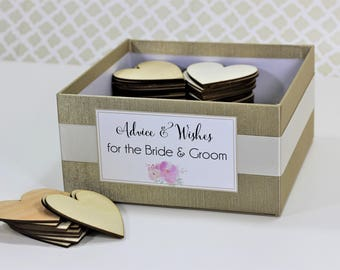 Champagne Gold Box Alternative Wedding Guest Book, Advice Well Wishes, Love Notes For The Bride & Groom, Rustic Woodland Customize