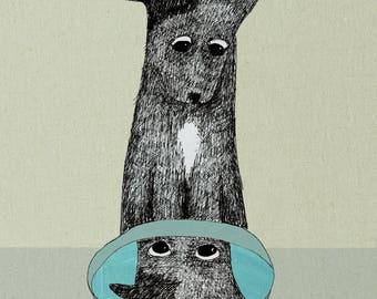 Dog with Bowl, fine art pigment print