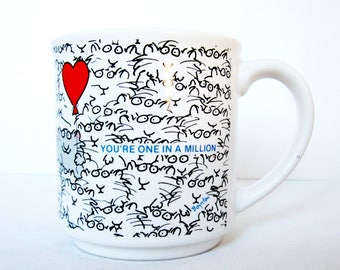 Sandra Boynton Mug You're ONE IN A MILLION Cats and Red Balloon Heart