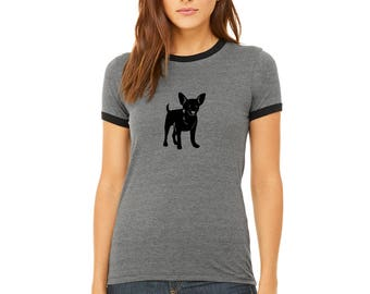Chihuahua Shirt, Ladies Ringer Tee, Crewneck Vintage Style Ringer, Dog Lover, Small Dog, Chihuahua Mom, Gifts for Dog Lovers, Junior Fit