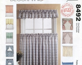 Curtains & Shades Sewing Instructions, Pattern Making McCall's 8492 Balloon Roman Roll Up Shades, Cafe Curtains, Valance, Pinch Pleat Drapes