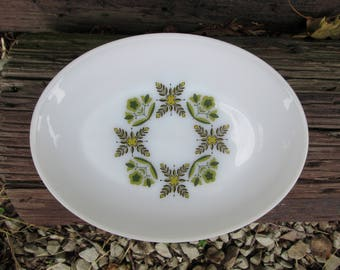 Mid Century Serving Platter Meadow Green Anchor Hocking Vintage Atomic Oval