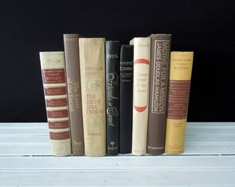 Books for Decor - Neutral Tone  Bookshelf Decor - Brown Yellow Tan Book Stack - Vintage Instant Library - Masculine Bookcase