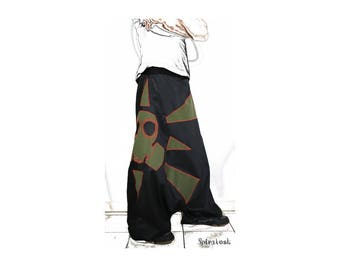 Unisex harem pants 'DGAz' gas mask harem pants with applique patterns and gas mask