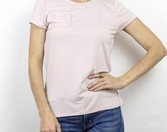 Dusty Rose Bow Pocket bamboo tshirt, Cute eco basic top with a twist, Heather Gray & Dusty Pink