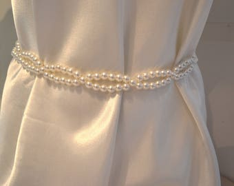 Beaded pearl belt, sash, size small to extra large - wedding belt, pearl belt, white belt, white beaded belt  prom belt