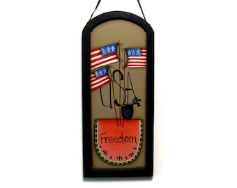 Americana USA Flag and Watermelon Framed Arched Sign, Handpainted Wood, Hand Painted Primitive Home Decor, Wall Art, Tole Painting, B2