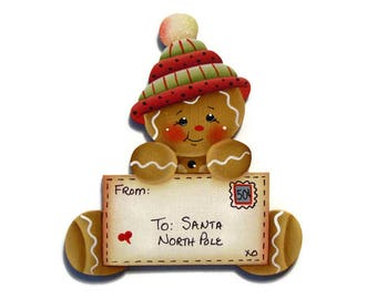 Ginger Letter to Santa Personalized Fridge Magnet or Christmas Ornament, Handpainted Wood Gingerbread, Hand Painted Refrigerator Magnet