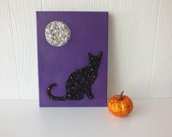 Beaded Black Cat Full Moon Wall Art Halloween