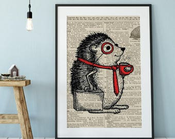 Monocles, hedgehog, vintage dictionary page art, black and white art, illustration, animal, wall art, top best selling, gift under 30, print