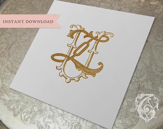 Vintage Wedding Monogram UZ ZU Digital Download Z U