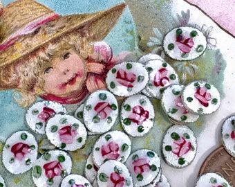 6 Vintage Guilloche cabochons,10x8 Vintage guilloche, Enamel Cabochons,Oval cabochons,Rose cabochons,Handpainted #G64B vintagerosefindings