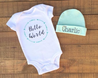 Baby Boy Coming Home Outfit - Baby Boy Clothes - Baby Boy Gift - Baby Boy Blanket - Baby Boy Hat - Baby Boy Outfit - Baby Shower Gift