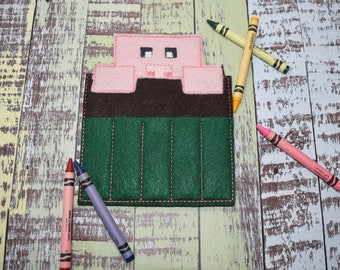 Pixel Pig Crayon Holder | Felt Crayon Holder | 5 Slot | Crayon Roll | Coloring | Eco Friendly | Educational | Quite Play | Stocking Stuffer