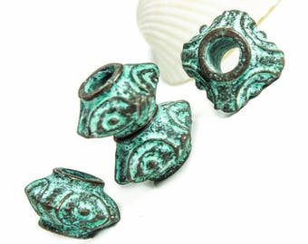 Greek Octahedron Spiral Geometric bead, Mykonos beads 14mm primitive boho circles flat Green Patina copper Nautical, large hole for 5mm cord