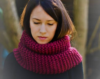 Deep Red Chunky Knit Cowl Scarf Snood Womens Scarf Womens Knit Snood Winter Fashion Winter Accessories