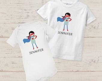 Customizable SUPER HERO funny baby girl toddler shirts bodysuit name onesie