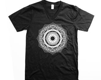 Vneck -  Unisex - Mandala -  V Neck party shirt - ORGANIC Cotton - Black and White - Bee tshirt - Organic shirt - S M L XL- Clothing