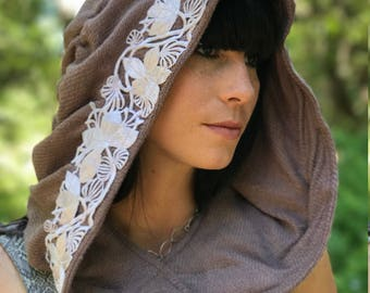 """NEW The """"Faerie"""" Ruched Hood with Floral Applique Trim in Lavender by Opal Moon Designs (Unisex/One Size)"""