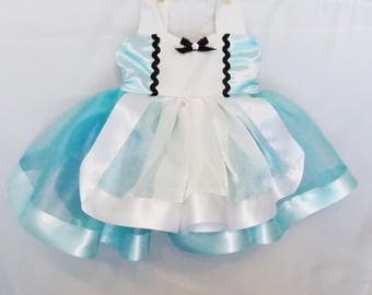 Alice in Wonderland Dress: blue with white skirt and apron, black trim, tutu dress, easy on and off, halloween costume, birthday party
