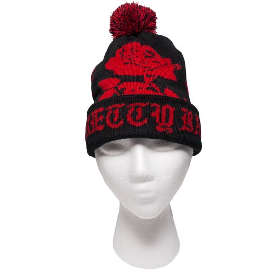 Pretty Bad Red And Black Rose Jacquard Knit Beanie With Pom.