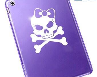 """Lady Skull Decal / Skull Window Sticker / Skull Laptop Decal / Skull Car Sticker / Skull Tablet Decal / Girl Skull / 5.25""""h x 5.75""""w / #478"""