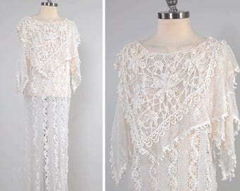 Vintage 70s hand crochet cotton lace dress / Layered draped top and scarf sleeves / Sheer lace dress