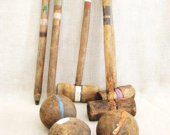 Antique Croquet Set, Handmade, Folk Art, Primitive, Lawn Games, Wooden Mallet, Balls, Vintage Toys, Sets, Collection, Rustic Decor, Sports