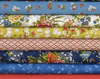 WEEKLY SPECIAL and Free Shipping! Japanese Garden Bundle of 8 Fat Quarters, Cotton Quilt Fabric Bundle, Fat Quarter Bundle on Sale