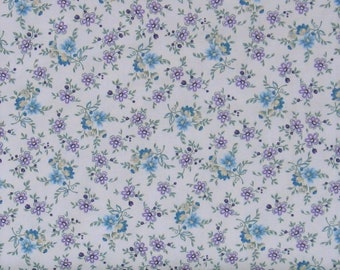 Purple & Teal Small Floral on Very Light Purple Background Cotton Quilt Fabric, Shabby Chic, Twilight Garden Collection, HEG8874-55, Aqua