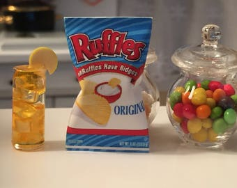 Miniature Potato Chip Bag, Mini Food, Dollhouse Miniature, Miniature Food, Dollhouse Accessory, 1:12 Scale Miniatures, Mini Food