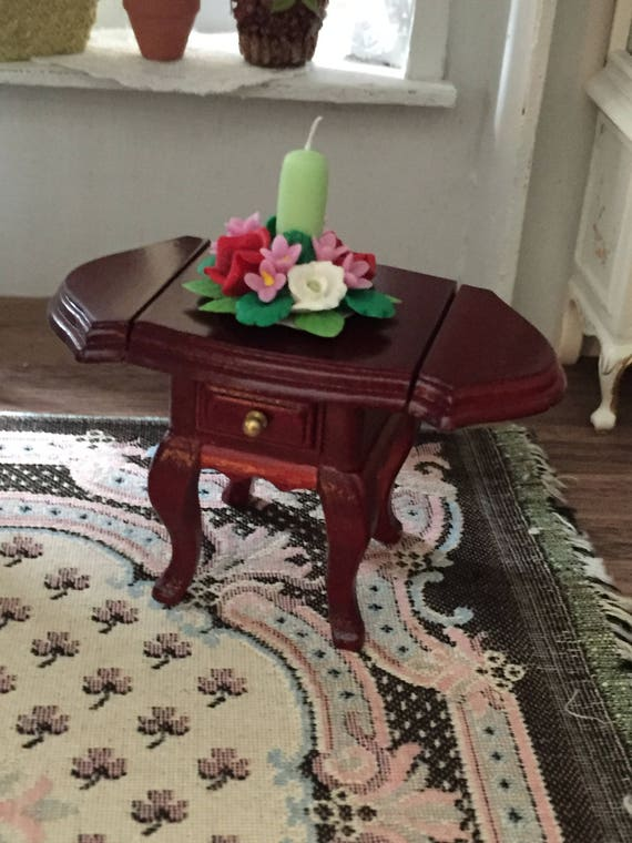 Miniature Mahogany Drop Leaf End Table With 2 Drawers, Dollhouse Miniature Furniture, 1;12 Scale, Dollhouse Table, Drop Leaf Table