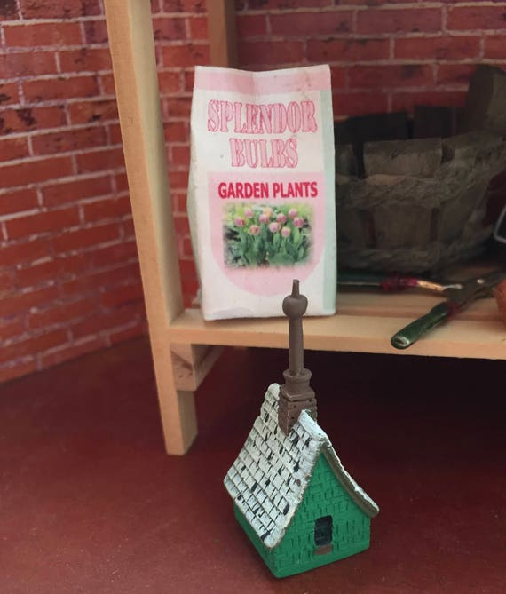"Miniature Birdhouse, ""Irish Cottage Birdhouse"" Dollhouse Miniature, 1:12 Scale, Mini Bird House, Green Birdhouse"