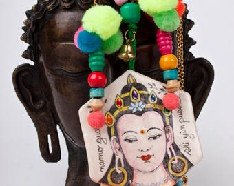 Kuan Yin Necklace, Spiritual Jewelry,  Bodhisattva, Buddhism Inspired Handmade Pendant, Air Dry Clay,Pom Pom, Banjara, Mantra to Wear, Mala