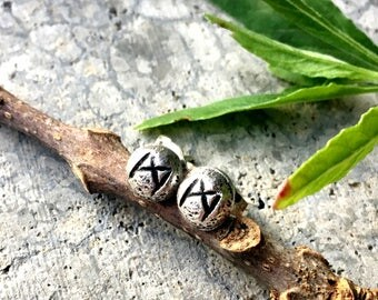 Mannaz (Man) Rune Post Earrings - Sterling Silver - Post - Runic - Boho - Bohemian - Witch - Runestone