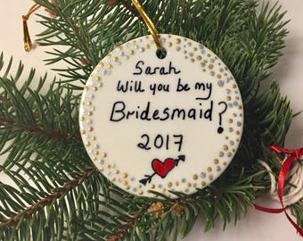Will you be my Maid of Honor Bridesmaid Proposal Christmas