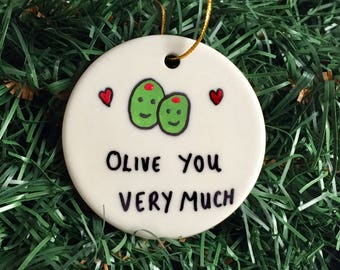 Olive You Very Much Personalized Gift Ornament, Valentines Day Gift, Valentines Ornament, Christmas Ornament, Mr & Mrs Olive You Ornament