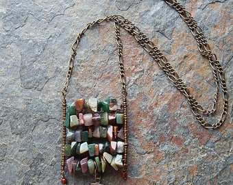 Structured agate necklace - ladder necklace - faux claw necklace - long boho statement necklace - layering necklace -  festival jewelry