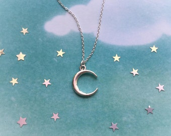 """Moon necklace on 18"""" dainty chain, available in silver or gold finish"""