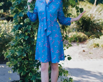 Vintage 1960's Polyester Dress Blue with Cherry Print and Bow Tie at Neck - Shift Dress with Belted Waist - Mod Retro - Long Sleeve - Print