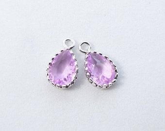 2 pc, 12x7mm, Violet Purple Teardrop Pendant Charm Dangle, Silver Rim - PC-0228