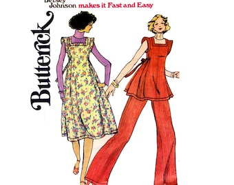 Butterick 4437 BETSEY JOHNSON Womens Jumper Dress Tunic Pants 70s Vintage Sewing Pattern Size 12 Bust 34 inches UNCUT Factory Folded