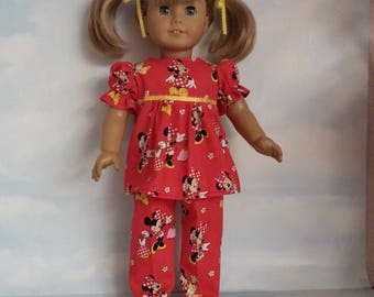 18 inch doll clothes - Red Minnie Mouse Pajamas handmade to fit the American Girl Doll - FREE SHIPPING USA