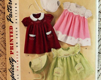 Simplicity 2392, Babies' Dress, Bonnet with Embroidery Sewing Pattern, Vintage 1950's Reproduction Pattern, Baby Size XS-L, Uncut