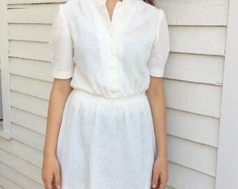 White Casual Dress 70s Short Sleeve Boucle Vintage L