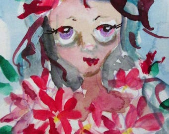 Poinsettia Fairy aceo artist trading card miniature watercolor painting Art by Delilah