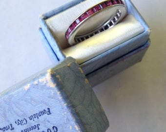 Vintage Square Cut Ruby Eternity Band in 14k White Gold - Sz 6.5