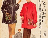 SZ 16/Bust 34 - Vintage 1950s Coat Pattern - McCall 1530 -  Misses' Flared Smock with Mandarin Collar in Two Variations with Transfers