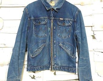 Vintage 50's Wrangler Sanforized Hand Stitched Denim Jacket - Small