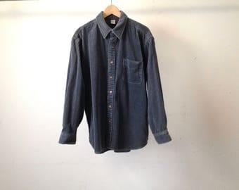 vintage CORDUROY normcore Color BLOCK button down FLANNEL sleeve oxford shirt